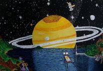 Boot, Acrylmalerei, Leuchtturm, Saturn