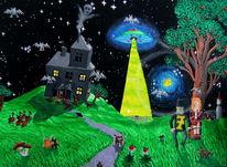 Mond, Haus, Frau, Baum