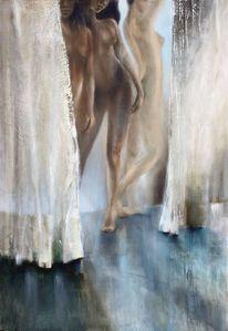 Frau, Vorhang, Stehen, Malerei