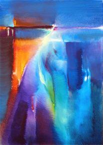 Rot, Blau, Landschaft, Malerei