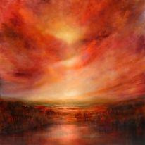 Leuchten, Abstrakt, Positiv, Gemälde