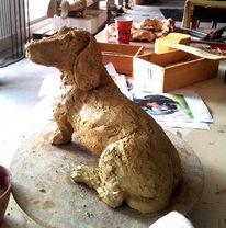 Hund, Realismus, Skulptur, Keramik