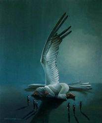 Nacht, Ölmalerei, Schlafender engel, Aufsicht