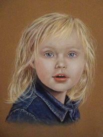 Kind, Pastellmalerei, Mädchen, Menschen