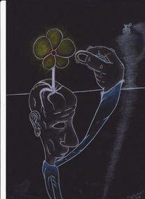 Granate, Blumen, Mischtechnik