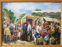 Händler, Markt, Menschen, Blumen