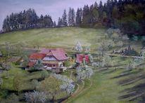 Gebäude, Frühling, Langenberg, Malerei