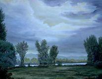 Nachtstimmung, Rhein, Malerei