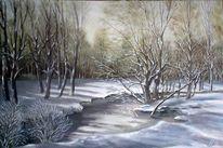 Schnee, Pfinzufer, Malerei