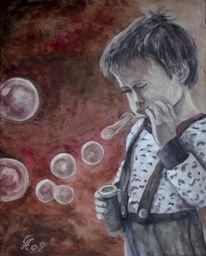 Kind, Seifenblasen, Menschen, Malerei