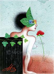Pflanzen, Blumen, Kugelschreiber, Efeu