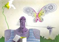 Frau, Schmetterling, Netz, Mann
