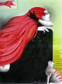 Haare, Acrylmalerei, Sofa, Frau
