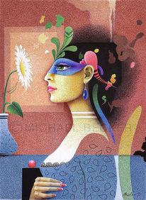 Blüte, Frau, Illustration, Profil