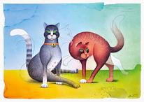 Katze, Katzenpaar, Kugelchreiber, Airbrush