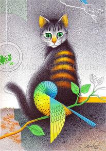 Kugelschreiber, Zeichnung, Katze, Wellensittich