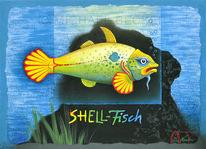 Wortspiel, Fisch, Benzin, Muschel