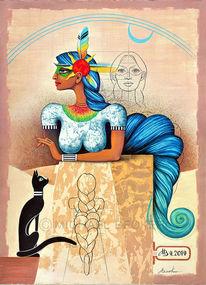 Raetzel, Malerei, Sphinx, Katze