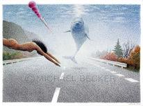 Straße, Zeichnung, Delfin, Autobahn