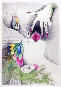Mischtechnik, Kuss paar, Illustration, Liebe