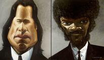 Travolta, Zeichnen, Pulp fiction, Karikatur