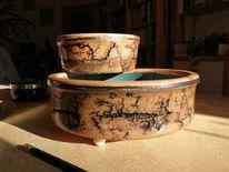 Holz kunst, Schale, Grabschale, Pflanzgefäss