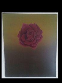 Rose, Rote rosa, Dunkelrote rose, Malerei