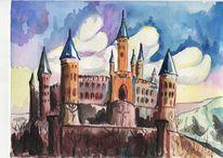 Landschaft, Schloss, Sicht, Burg