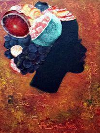 Rot, Portrait, Früchte, Hut