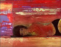 Frau, Hören, Akt, Malerei