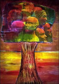 Landschaft, Collage, Baum, Kopf
