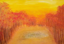 Indian summer, Rot, Gold, Abendlicht