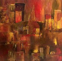 Stadt, Menschen, Häuser, Malerei