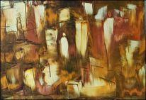 Malerei, Stadt, Menschen