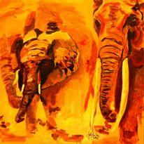 Tiere, Farben, Elefant, Acrylmalerei