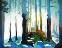 Nebel, Gelb, Schatten, Lichtung