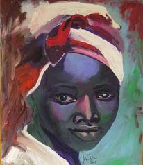 Acrylmalerei, Frau afrika, Ebenholz, Portrait