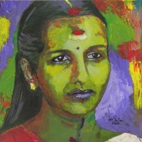 Acrylmalerei, Portrait, Frau, Indien