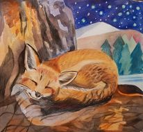 Nacht, Fuchs, Winter, Illustrationen