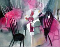 Stuhl, Eingeladen, Gedeckt, Aquarell