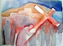 Schwer, Kreuz, Durchhalten, Aquarellmalerei