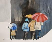 Sturm, Zusammen, Schirm, Aquarell