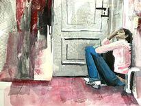 Eingesperrt, Verlassen, Verzweiflung, Mischtechnik