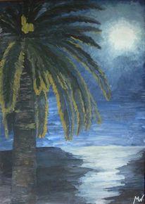 Promenade des anglais, Nizza, Cote dazur, Mond nacht