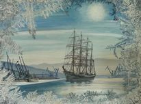 Eisblumen, Winter, Tall ship, Welt
