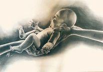 Bleistiftzeichnung, Zeichnung, Schwarz weiß, Baby