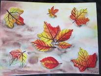 Herbstbätter, Herbst, Aquarell, Herbstblätter