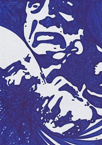 Aggression, Blau, Weiß, Illustrationen