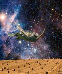 Kosmische schildkröte, Groß, A'tuin, Mischtechnik