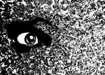 Augen, Angst, Eis, Mischtechnik